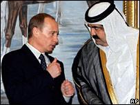 Vladimir Putin with Qatar's Emir Sheik Hamad bin Khalifa Al Thani