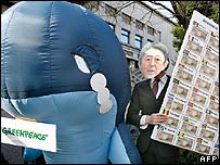 Greenpeace protest outside the whaling conference in Tokyo on 13 February 2007