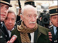 Maurice Papon during his trial in 1999 for Nazi-era crimes against humanity