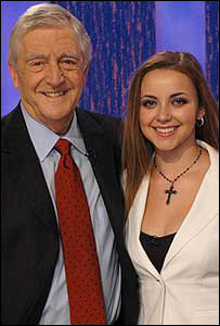 Michael Parkinson and Charlotte Church after one of their BBC interviews