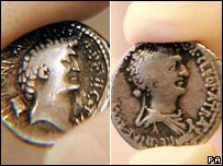 Images of Antony, left and Cleopatra