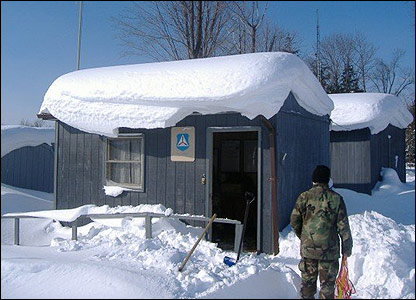 Building covered in snow, Oswego, New York