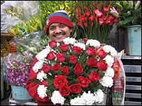 Flower seller in New Delhi