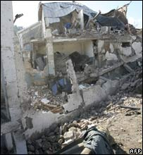 Destroyed police centre in Ben Khada