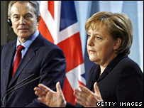 Tony Blair and Angela Merkel in Berlin