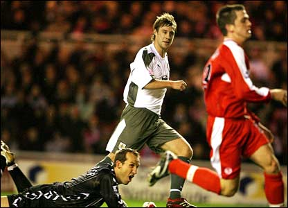 Bristol City's David Noble opens the scoring at the Riverside