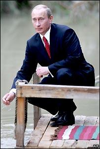 Владимир Путин в Иордании у реки Иордан