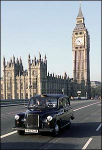 Black cab outside Parliament