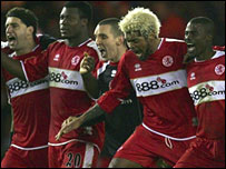 Middlesbrough celebrate their FA Cup win over Bristol City