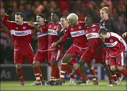 Middlesbrough celebrate ousting Bristol City from the FA Cup