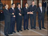 Negotiators for the six-party talks in Beijing on 13 February 2007