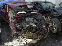 The wreckage from Chris Coleman's car crash in 2001