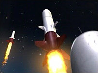 Computer generated image of sulphur rockets being launched