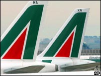 Alitalia planes parked at Rome's Fiumicino airport