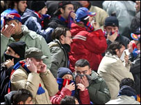 Police used tear gas to disperse crowds inside and outside the stadium at the Catania-Palermo derby