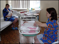Two women who have just had second children at Samara hospital