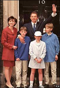 Tony Blair and family standing outside 10 Downing Street