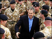 Tony Blair meets British troops in Iraq in 2005