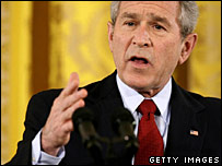 George W Bush addresses the media at his first press conference of 2007