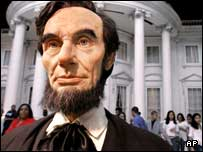 This replica of Lincoln is seen by visitors as they enter the Abraham Lincoln Presidential Museum in Springfield, Illinois.