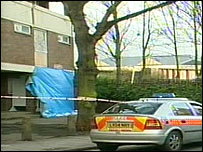 Police tape cordon off the scene of the shooting