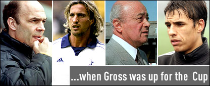 Tottenham's Christian Gross and David Ginola and Fulham's Mohammed Al Fayed and Chris Coleman