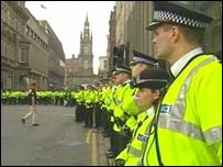 Police officers in Glasgow