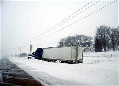 A lorry forced off the road in Illinois: photo from Richie Gardner