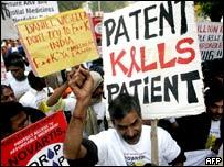 Protestas en contra de Novartis en Nueva Delhi (enero 2007)