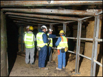 Workers inside the Combe Down Stone Mines