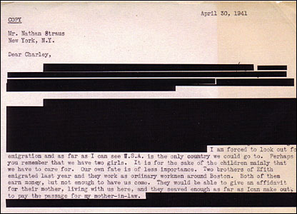 Letter dated 30 April 1941 from Otto Frank to his friend Nathan Straus, redacted to protect family members' privacy. (YIVO Institute for Jewish Research)