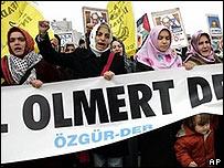 تظاهرات ضد زيارة اولمرت
