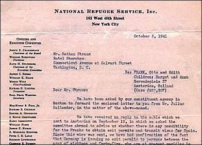 Letter from Augusta Mayerson of the National Refugee Service to Nathan Straus dated Oct. 1941. (YIVO Institute of Jewish Research)