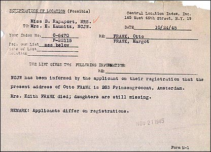National Refugee Service memo dated October, 1945, after the end of the war, saying Otto Frank has been found but his wife is dead and his daughters Margot and Anne are missing.
