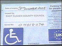 Photo of a blue badge