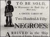 P�ster de venta de esclavos
