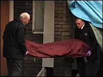 Billy's body is taken away from the murder scene