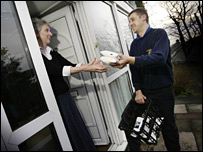 Milkman delivers new milk bags