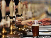 A pint on a bar (generic)