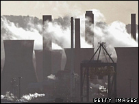A power station emitting fumes