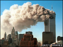 World Trade Center on fire - 11 September 2001