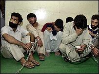 Suspected militants under arrest in Indian-administered Kashmir