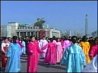People take part in a folk dance in Pyongyang