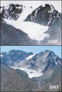 Fotografías de glaciar de 1930 y de 2007