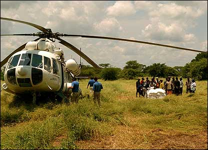 Helicopter delivering food aid