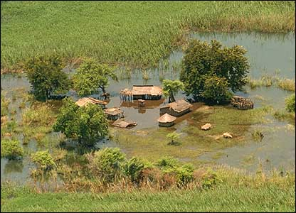 Flooded huts