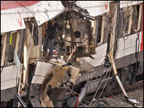 Bomb-damaged train carriage