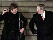 President Bush danced on stage with Martin at the 2001 ball