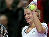 Kim Clijsters celebrates her win over Ana Ivanovic