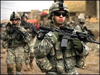 US troops, part of the surge force, patrol in Baghdad